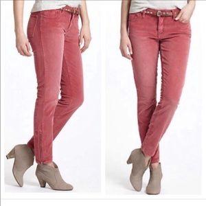 Pilcro Zipper Ankle Stet Corduroy Pants 27 Berry